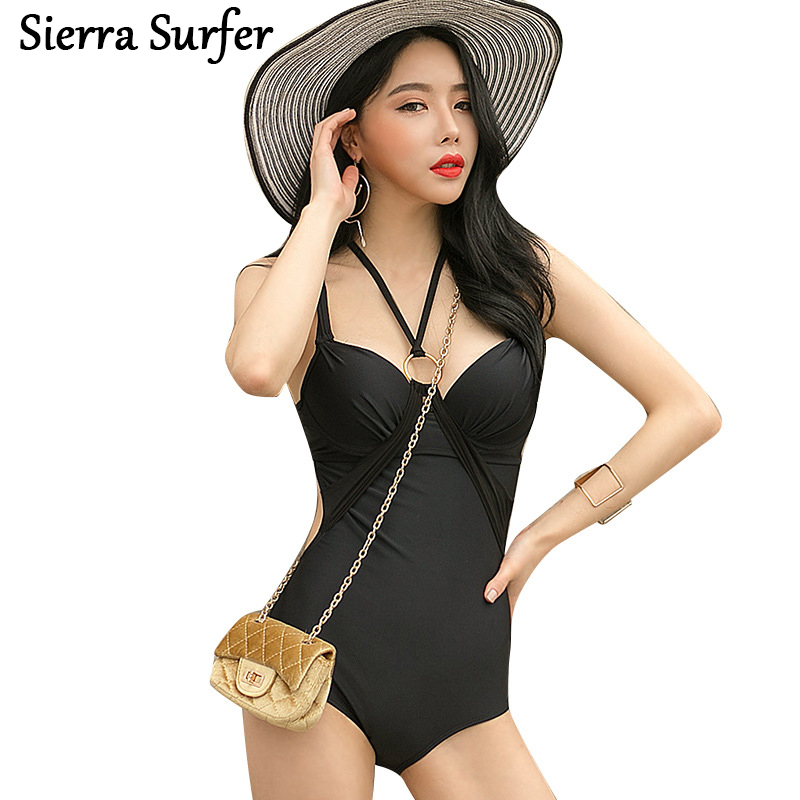 Cheap Sexy Bathing Suits Swim Suit One Piece May Beach Girls One-Piece Swimsuit 2018 Korean New Black Dress Underwire Neck Bayan