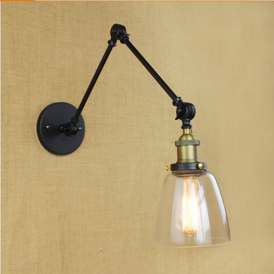 Long Adjustable Arm Vintage Wall Lamp Glass Lampshade Style Loft Industrial Wall Light Edison Wall Sconce Lampara Pared edison adjustable arm light vintage wall lamp style loft industrial wall sconce arandelas lampara pared