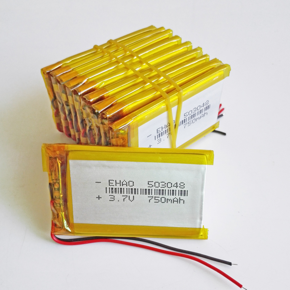 10 pcs 503048 3.7V 750mAh Lithium Polymer LiPo Rechargeable Battery For Mp3 MP4 GPS bluetooth ebooks power bank tablet pc camera