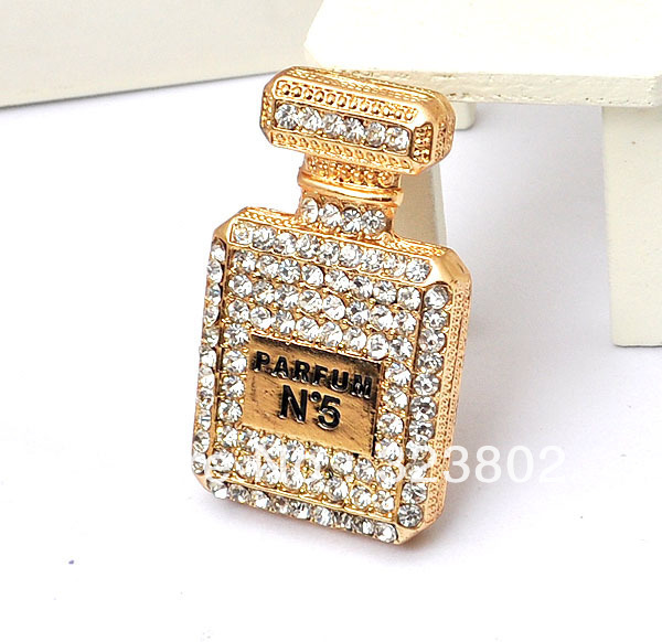 47*30MM Flatback Gold Plated Alloy Parfum Bottle with Rhinestone Decoration DIY Charm Supplies Handmade Case Accessories 12PCS