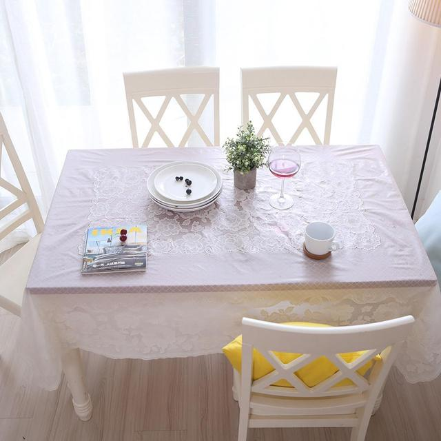 Waterproof Oil Proof Tablecloth Gold White Lace Table Cloth Plastic Pvc Soft Gl