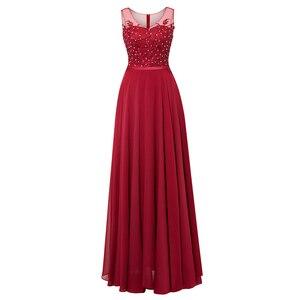 Image 5 - Tanpell uzun scoop akşam elbise siyah kolsuz aplikler boncuklu bir çizgi kat uzunluk elbise ucuz kadın parti balo gece elbisesi