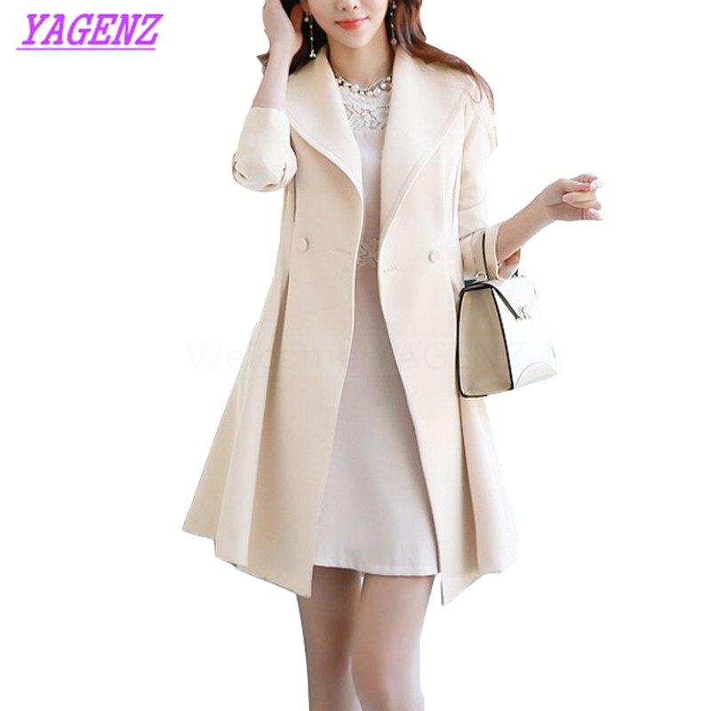 Spring Autumn Windbreaker coat Women Korean Slim Long   Trench   coat Young Women Solid color Double breasted Exquisite Overcoat 300
