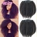 Belo cabelo encaracolado afro crespo virgem grampo de cabelo brasileiro em 7 pçs/set preto grampo em extensões do cabelo real do cabelo humano 100 g/set