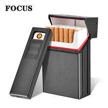 FOCUS Brand New Ciagrette Holder Box with Removable USB Electronic Lighters Flameless Windproof Tobacco Cigarette Case