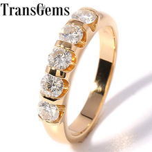 TransGems Klasik Katı 14 K 585 Sarı Altın 1.25CTW 4 MM F Renk Moissanite Alyans Kadınlar için Hediye