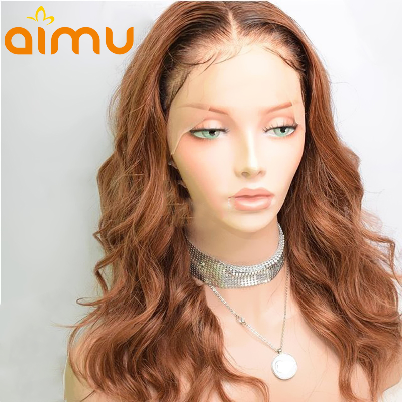 Brown Ombre Color T4 27 Honey Blonde Water Wave 360 Lace