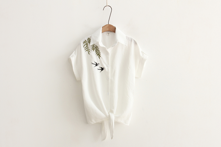 White Loose New Summer Style Women Short Sleeve Embroidery Casual Tops