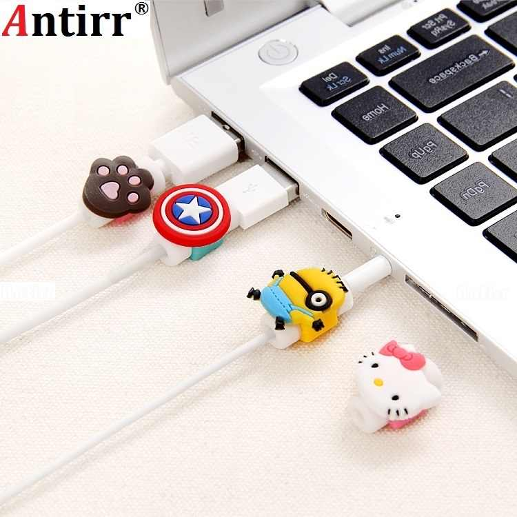 Uniwersalny Cute cartoon rysunek dane usb linia kablowa Protector Anti Breaking rękaw ochronny na kabel do iphone Protect stitch