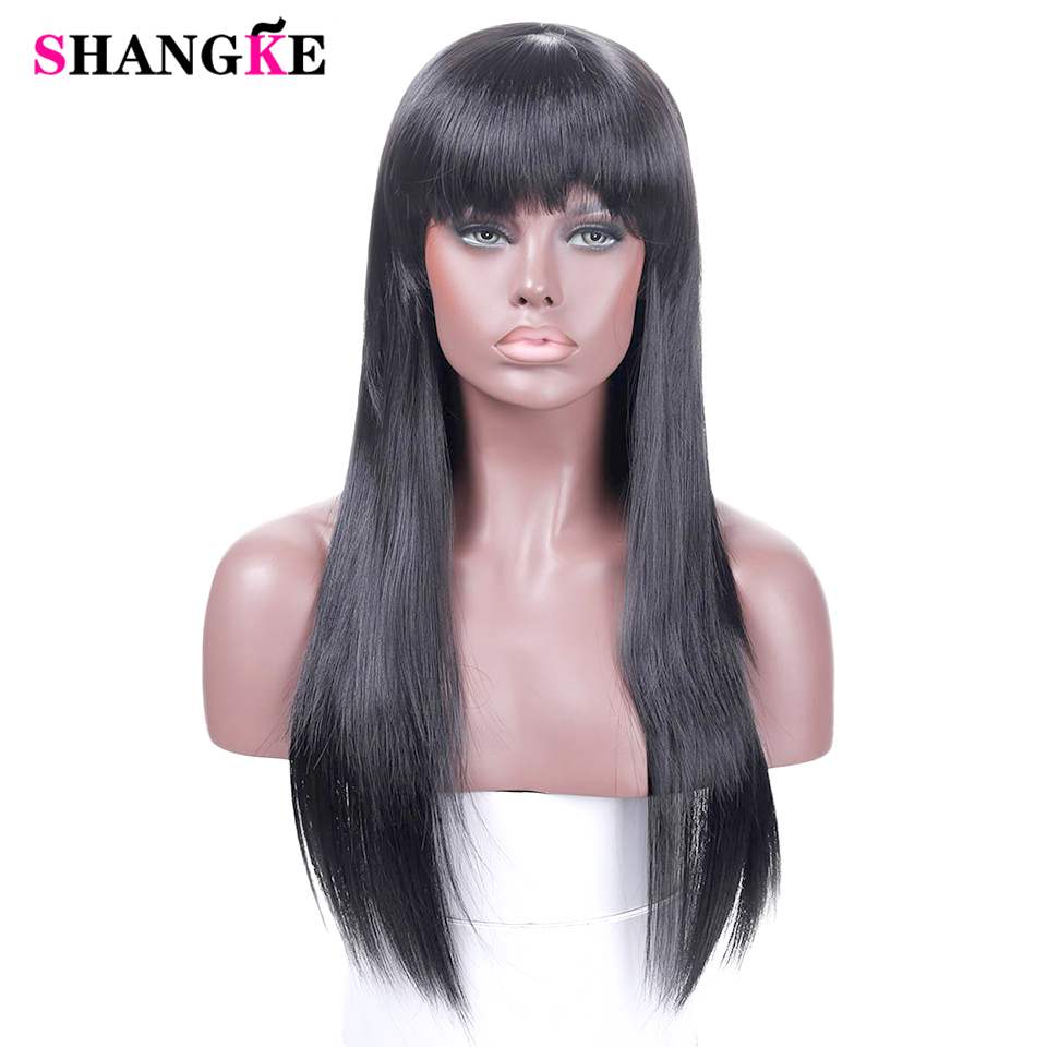 Long Straight Hair Wig With Bangs Black Brown Wigs For African American Women Cosplay Daily Synthetic Heat Resistant Wig SHANGKE