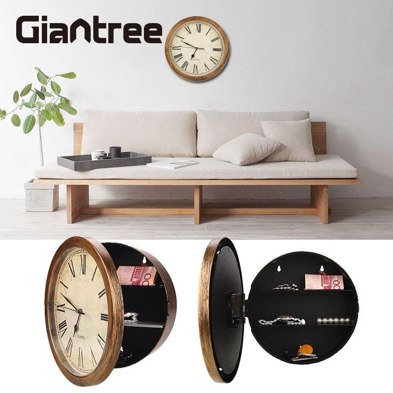 giantree Secret Safe Box Wall Clock Safe Box Wall-Mounted Hanging Key Cash Money Jewelry Storage Security Box Home Decor