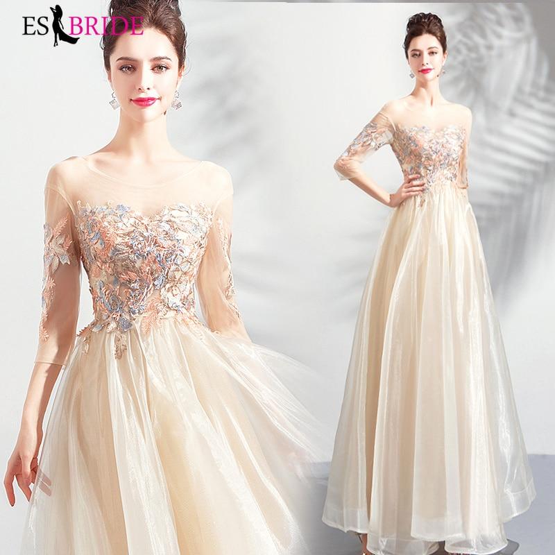 Long Champagne Formal   dress   Lace Appliques   Evening     Dress   Robe De Soiree Elegant 2019 New   Evening     Dresses     Evening   Gown ES2155