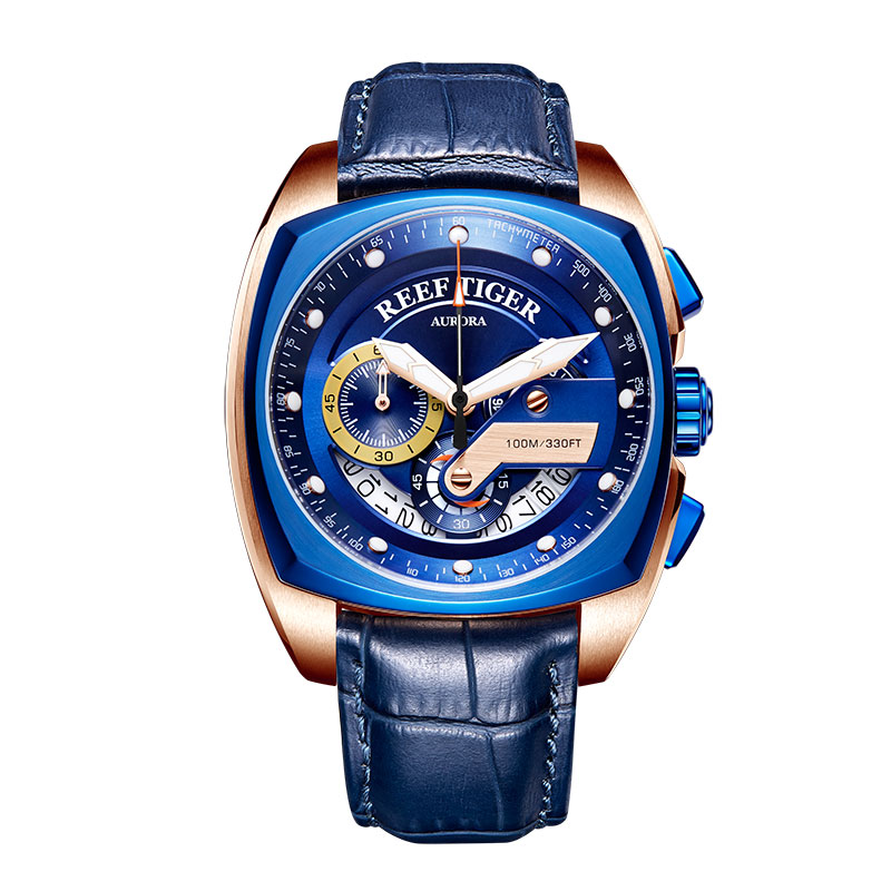 2019 Reef Tiger RT Top Brand Sport Watch for Men Luxury Blue Watches Leather Strap Waterproof