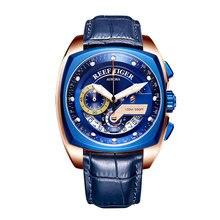 2019 Reef Tiger/RT Топ бренд спортивные часы для мужчин Роскошные Синие часы кожаный ремешок водонепроницаемые часы Relogio Masculino RGA3363