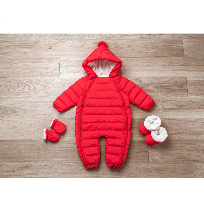 High Quality Babyrompers Winter Thick Warm Baby Girrls Clothing Long Slleeve Hood Jumpsuit Babay 90% Duck Down Jackets for-25 thick warm long 90