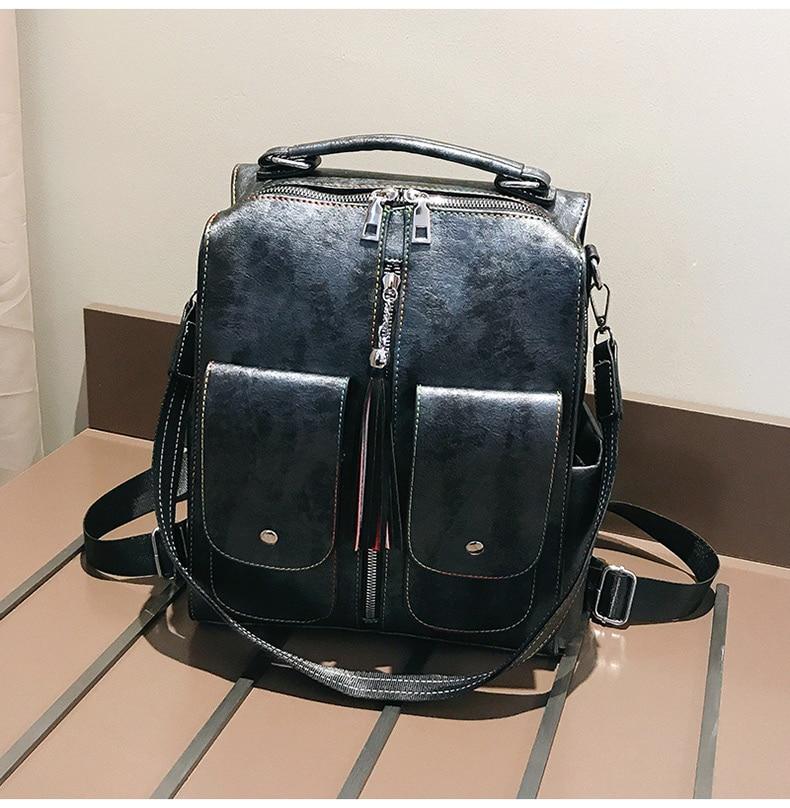 HTB10qiFaovrK1RjSspcq6zzSXXaL Retro Leather Women Backpack Zipper School Backpacks For Teenage Girls Bag Large Capacity Multifunction Mochila Feminina XA227H
