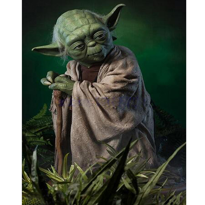 New Diy 5d Rhinestones Full Square Drill Mosaic Diamond Painting Cross Stitch Kits Star Wars Diamond Embroidery Master Yoda