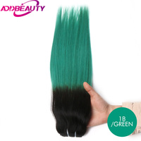 Addbeauty Straight Brazilian Virgin Hair Products Selected Raw Materials Human Hair Weave Bundles T1 Green Color