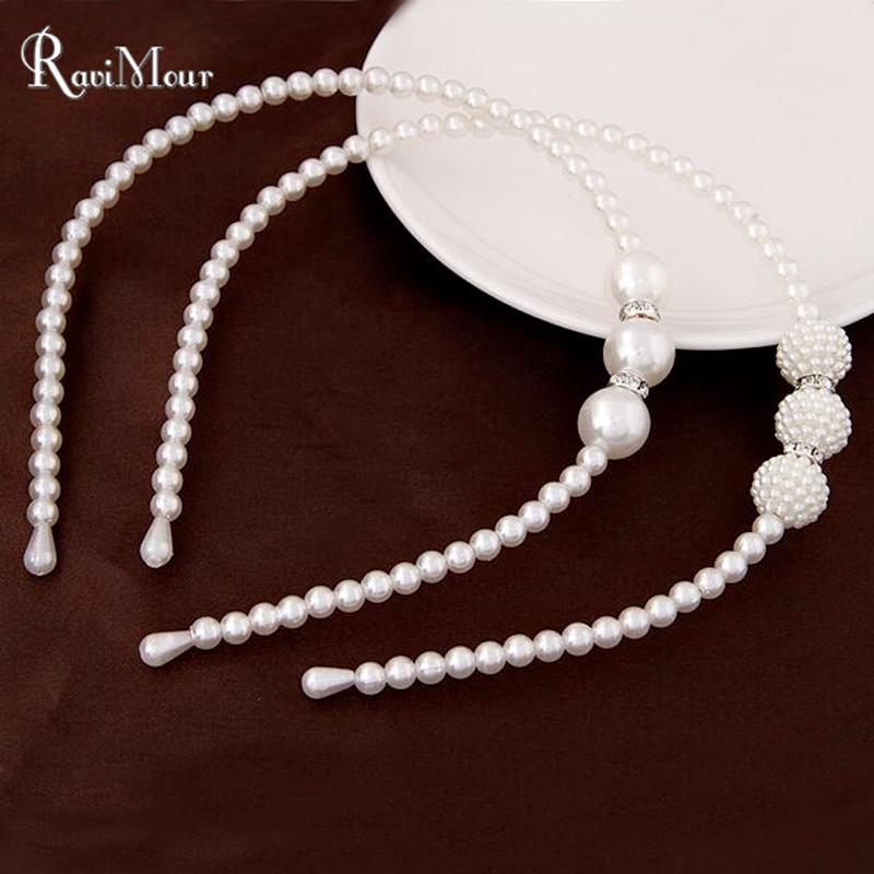 Fashion Wedding Hair Accessories Simulated Pearl Jewelry Hairbands Perlas Head Jewelry Hairbands Barrette Hairwear Decoration