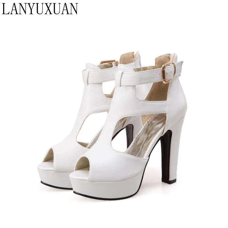 LANYUXUAN New Ladies Gladiator Sandals Women Big Size 48 49 50 Sandals Ladies Party Wedding Shoes High Heel Women Pumps 3111 lanyuxuan 2017 sandals wedding party women sexy fashion big size 31 48 lady shoes super high heel 16cm women pumps shoes 205