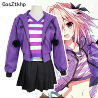CosZtkhp Fate Apocrypha Astolfo Cosplay Costumes Pink Wig Women Purple Jacket Spring Coat For Halloween Party full Set Wigs