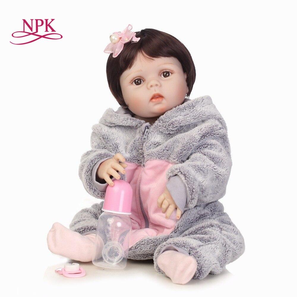 NPK 57 cm silikonowe całego ciała Reborn lalki realistyczne Baby girl noworodka moda Bebes Reborn lalka na prezent bożonarodzeniowy nowy rok prezent w Lalki od Zabawki i hobby na  Grupa 1