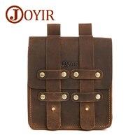 JOYIR100 Genuine Leather Men Waist Packs Retro Small Leather Waist Bag Male