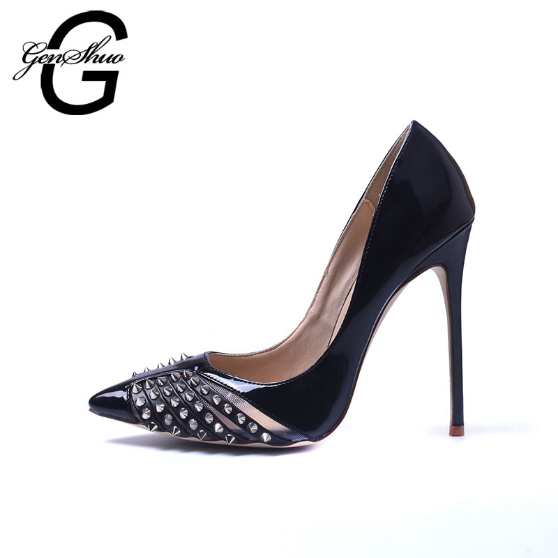 GENSHUO Brand Shoes Rivets High Heels 12CM Women High Heels Pointed Toe Black White Women Pumps Sapato Feminino Shoes Stiletto new arrival blue and white porcelain pattern stiletto heels pretty women glittering crystal pointed toe pumps high quality shoes