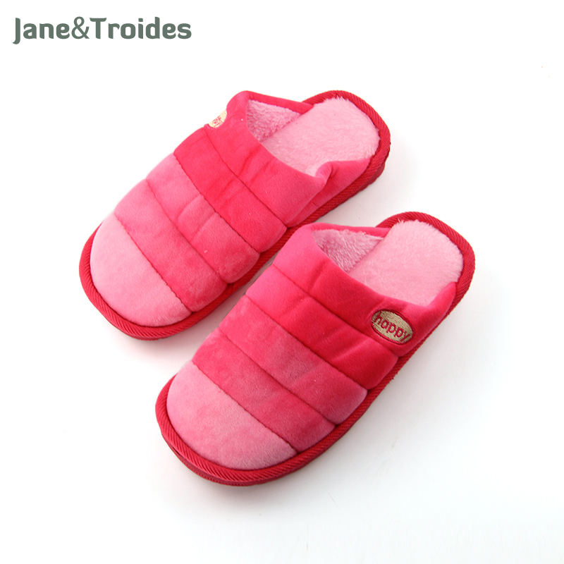 Home Winter Plush Women Slippers Happy Embroidery Gradient Color Flip Flops Fleece Warm Anti Slip Sandals Fashion Woman Shoes plush winter slippers indoor animal emoji furry house home with fur flip flops women fluffy rihanna slides fenty shoes
