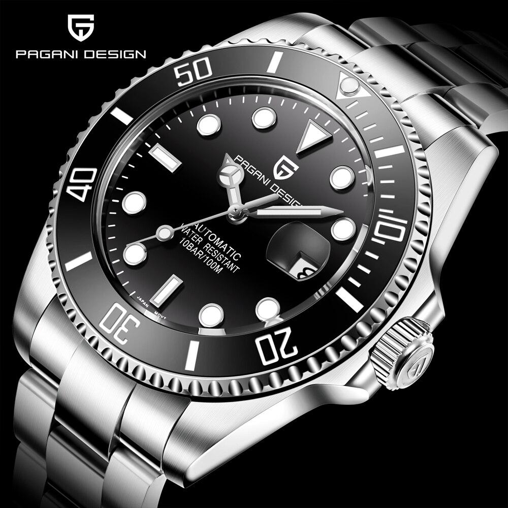 Relojes de lujo de marca de diseño PAGANI para hombre, reloj negro automático, reloj mecánico de acero inoxidable, resistente al agua, deporte de negocios-in Relojes mecánicos from Relojes de pulsera    1
