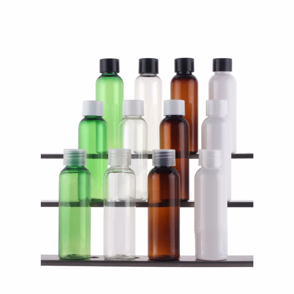 100pcs 15ml Small Spun Bottle Clear Plastic Refillable Skin Care Bottles Makeup Pet Sample Container Tip Caps Empty Squeeze Tube Refillable Bottles