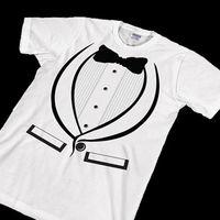 WHITE TUXEDO T Shirt Funny Wedding Bachelor Gift Suit Prom Joke Costume Tee