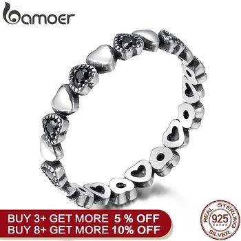 BAMOER Genuine 925 Sterling Silver Stackable Ring Heart Black CZ Finger Rings Wedding Anniversary Jewelry