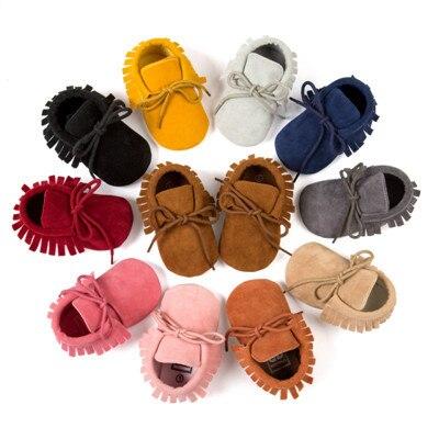 2019 New style  PU  Leather soft sole  Fringe Infant  Baby Boy Girl mocassion shoes  infant  Non-slip Lace-up baby crib shoe 1