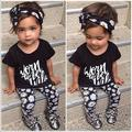 Xy-165 2016 Summer Baby Girl Clothes Cotton Letter Printed Shorts+hair band + Pants Baby Clothing Sets Kids Clothes Sets Outfits