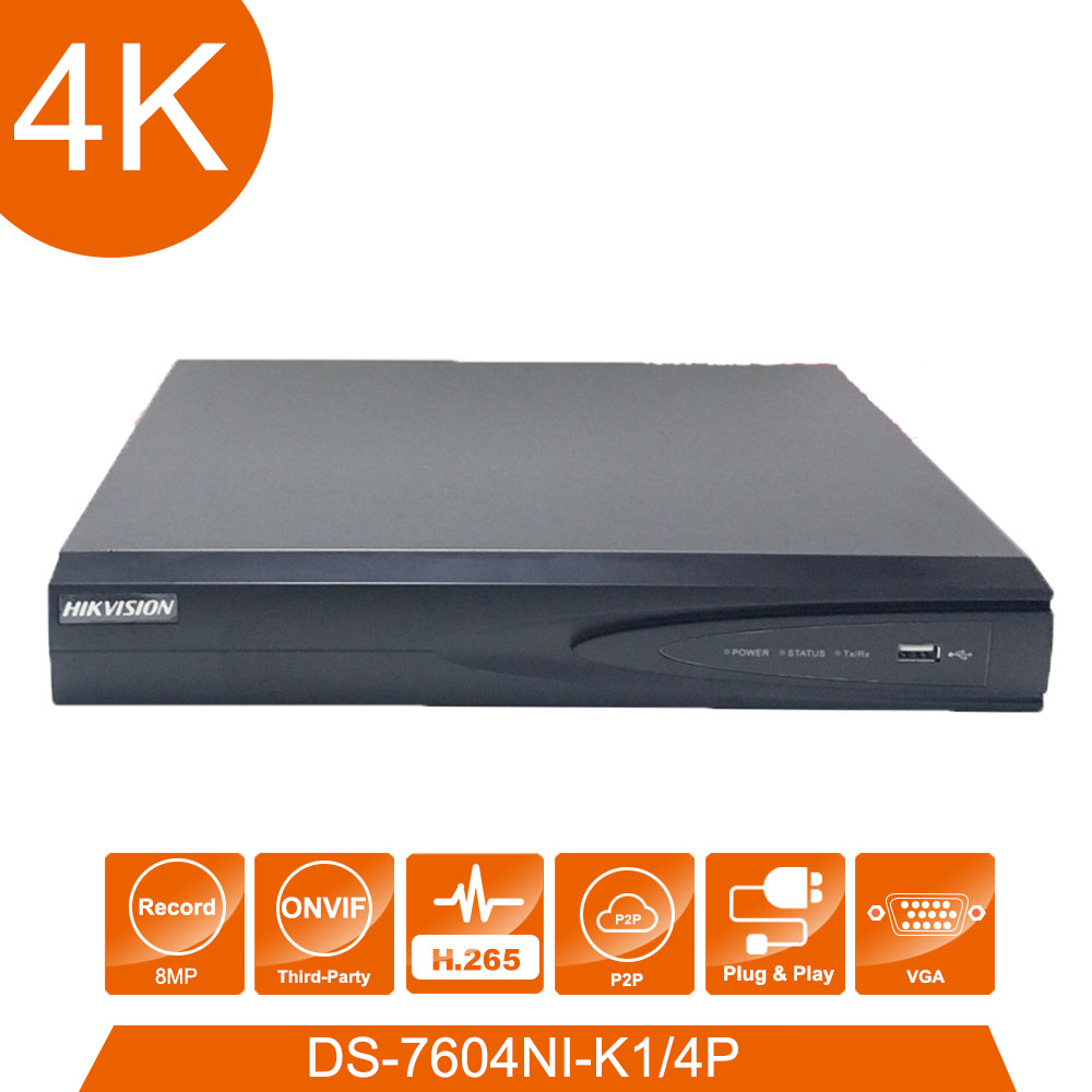 Network video recorder Hik vision DS-7604ni-K1/4 P 4 POE ports 4K 4ch plug & play NVR with