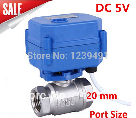 Motorized Ball Valve 3/4 DN20 DC5V 2 way Stainless Steel 304 Electric Ball Valve ,CR03 Wire 2 sanitary stainless steel ball valve 2 way 304 quick installed food grade pneumatic valve double acting straight way valve