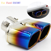 1Pcs Y Pipe Car Exhaust Pipe Stainless Steel Dual Tail Muffler Tip Pipe Auto Grilled Blue