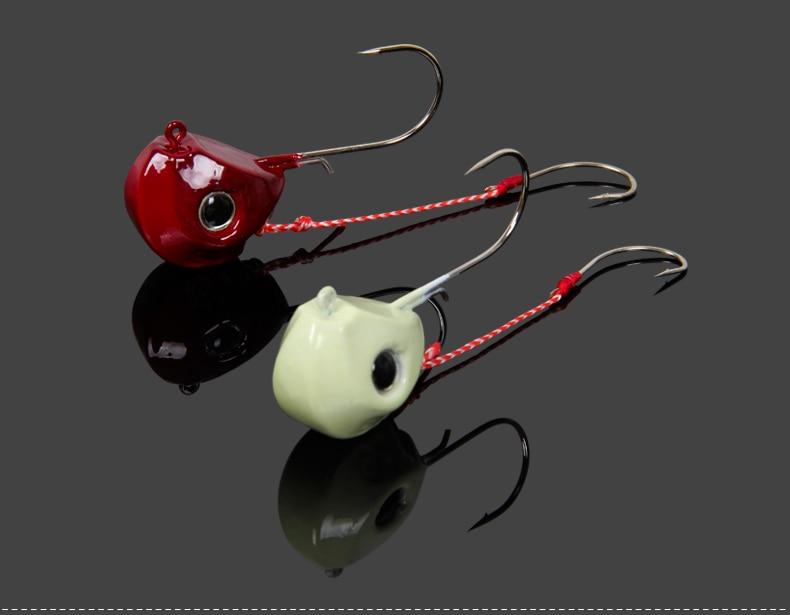 Trulinoya Jig Head Hook with Assist Hook 60g 80g Jigger in Red & Luminous Colors Big Jigs for Deep Sea Trolling Fishing