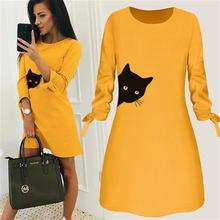Cat Letters Print Round Neck Solid Color Dress Dress Clothing Summer Beach Vestidos Mujer Boho