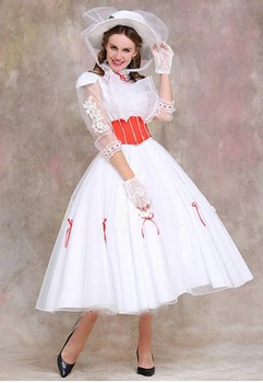 Classic Mary Poppins Costume  with Red Satin Corset dress High Quality Halloween cosplay costume