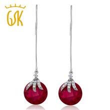 Gemstoneking vendimia de las mujeres 925 pendientes de plata de ley 15.65 quilates creado rubíes rojo cuelga los pendientes de la joyería fina