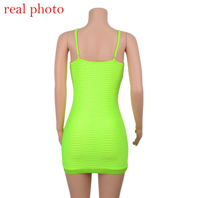 Женское платье с тонкими бретелями Cryptographic, неоново-зеленое облегающее мини-платье с рюшами, летнее сексуальное платье без рукавов, для клубов и вечеринок, 2019