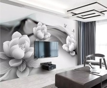 Beibehang Wallpaper mural black and white ink lotus butterfly simple 3d TV background wall paper home decoration wallpaper