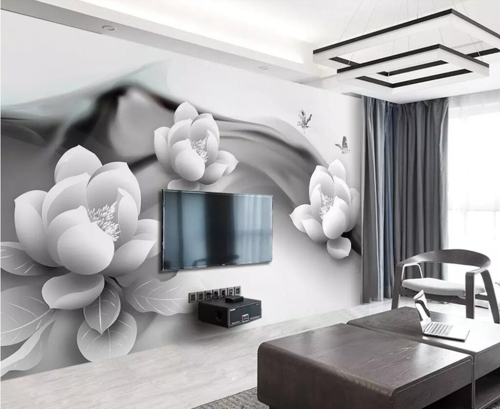 Beibehang Wallpaper mural black and white ink lotus butterfly simple 3d