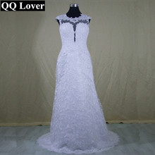 QQ Lover 2017 New See Through Back Mermaid Lace Wedding Dress Appliques Custom-made Vestido De Noiva Bridal Gowns