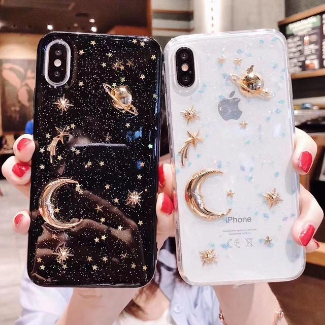 Shinning Glitter Moon planet soft case for OPPO F5 F7 F9 R17 Pro A73 A57 A59 A83 A3 A5 A7 A79 R9 R9S R11 R11S Plus Cover Coque