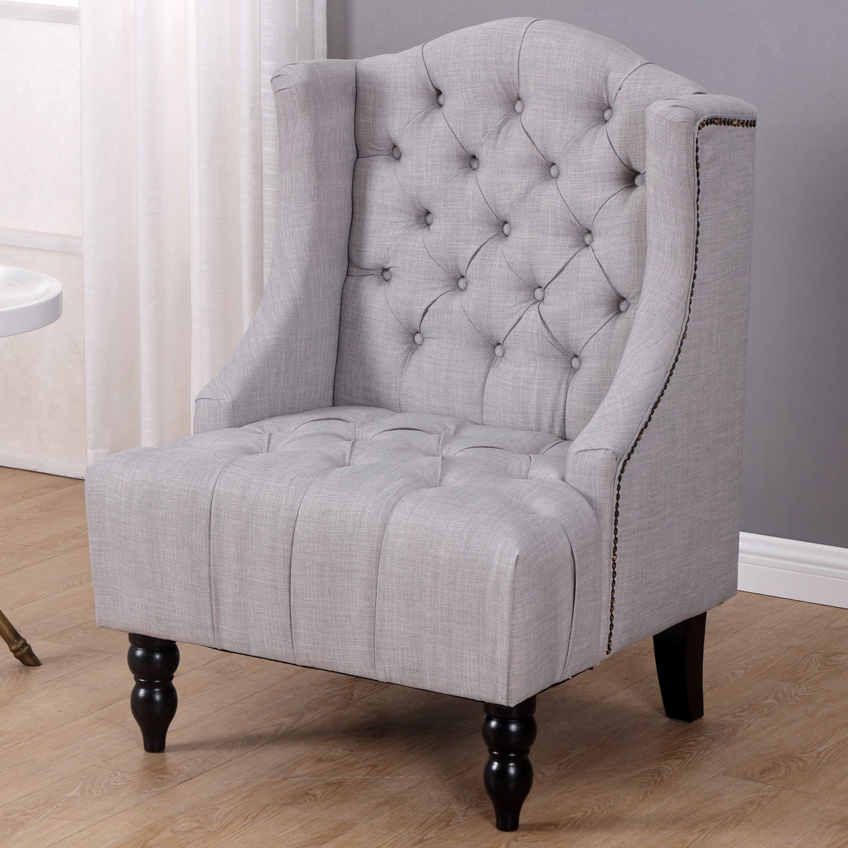 Giantex Modern Tall Wingback Tufted Accent Armchair Living Room Fabric  Vintage Sofa Chair Nailhead Home Furniture HW57313GR In Living Room Chairs  From ...