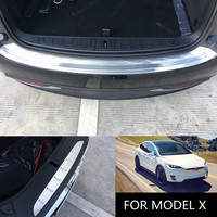 For Tesla Model X Car Rear Trunk Sticker Stainless Steel Back Trunk Guard Trim Cover for Model X 2017