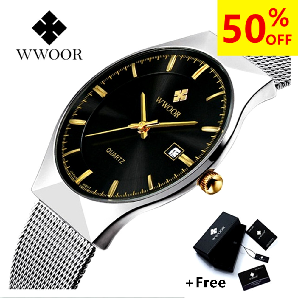 WWOOR Watch Men Luxury Ultra Thin Men Stål Quartz Watch Date 50m Vattentät Klocka Man Casual Armbandsur Relogio Masculino